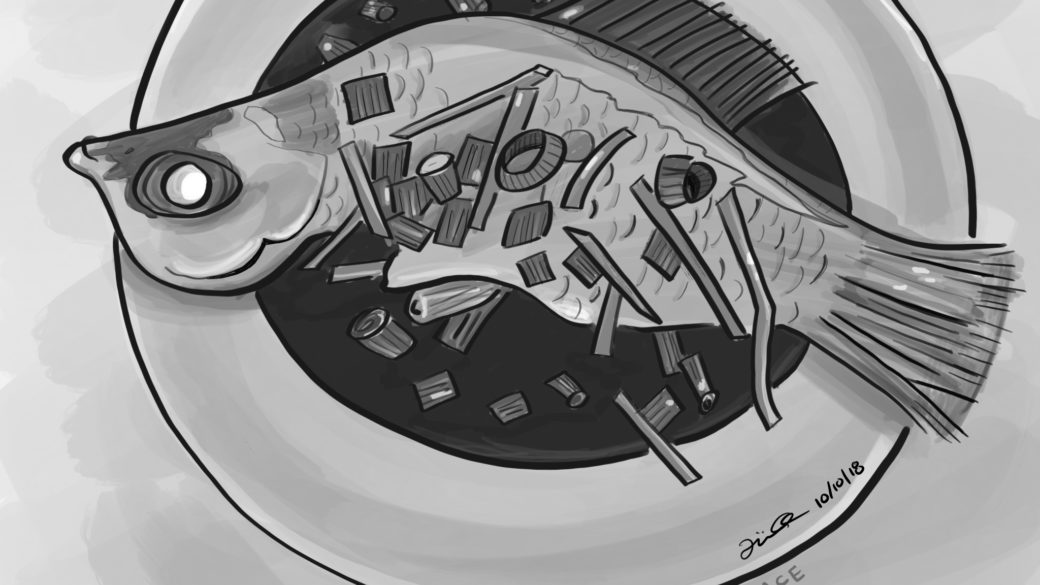 Steamed Fish in Grayscale