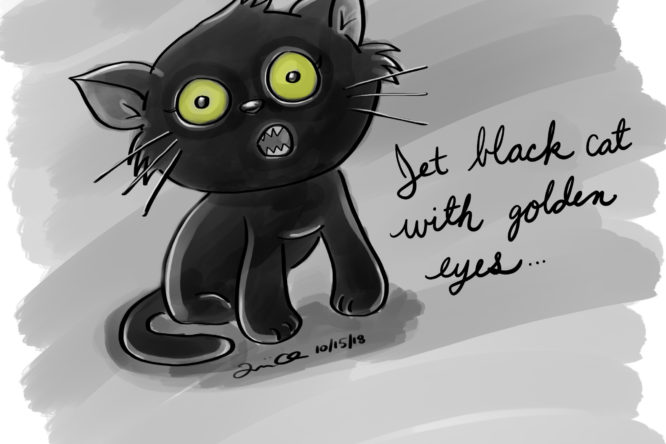 Jet Black Cat with Golden Eyes illustration by Lillian Lee
