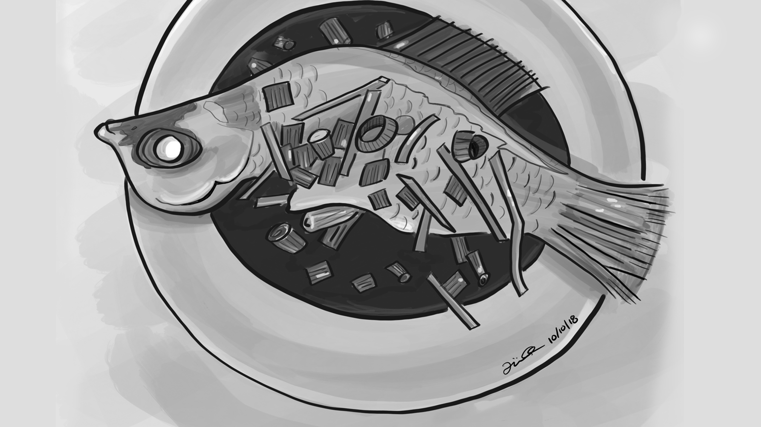 Steamed Fish Illustration by Empty Bamboo Girl / Lillian Lee