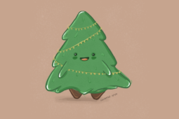 An Illustrated Christmas Tree for the Holidays